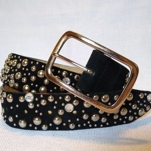 Accessories - Studded black suede belt
